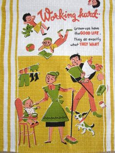 Half of the proceeds donated to Baby TALK - a community family support model.  Vintage Towel Funny Graphics Family Dynamics by NeatoKeen on Etsy, $32.00