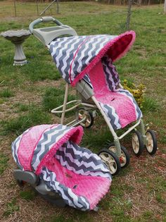 Grey Chevron and  Hot Pink Minky Graco Stroller and seat cover. $125.00, via Etsy.