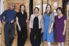 From left are University of South Florida Contemporary Art Museum curators Peter Foe, Margaret A. Miller, Sarah Howard, Megan Voeller and Noel Marie Smith.