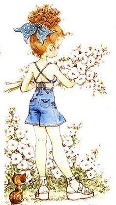 Niña con ramo de flores 2- Ilus. Sarah Kay