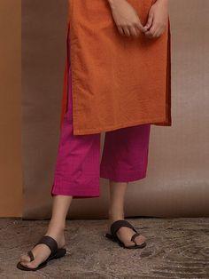 Orange Pink Cotton Kurta with Striped Pants- Set of 2 Silk Kurti Designs, Kurta Designs Women, Salwar Pants, Salwar Kameez, Pakistani Fashion Casual, Indian Fashion, Suit Fashion, Fashion Dresses, Casual Formal Dresses