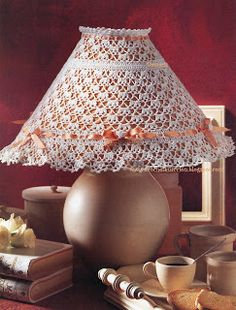 DIÁRIO DO CROCHE...: Pattern Lace Lampshade, Crochet Lampshade, Lampshade Chandelier, Lampshade Redo, Vintage Lampshades, Lamp Shades, Light Shades, Crochet Diagram, Crochet Patterns