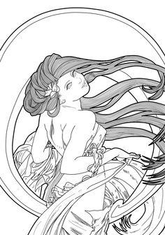 Art Nouveau - lineart by ponypalsandhorsies.deviantart.com on @DeviantArt