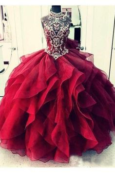 Custom Made Engrossing Burgundy Prom Dress Royal Blue Organza High Neck Quinceanera Dresses Burgundy Prom Dresses Royal Blue Prom Dresses, Homecoming Dresses, Dress Prom, Quinceanera Dresses Maroon, Quince Dresses Burgundy, Wedding Dresses, Dashiki Prom Dress, Puffy Prom Dresses, Bridesmaid Dresses