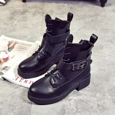 $17 Women Chelsea Martin Boots Black Leather Autumn Winter Short Bootie For Lady Cool Motorcycle Low Top Street Style