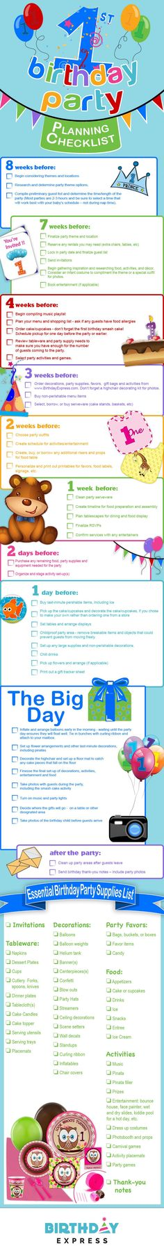 Let BirthdayExpress help you with your child's 1st birthday with this fantastic Party Planning Checklist!