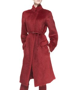 Belted Alpaca-Blend Military Coat, Ruby Red by Donna Karan at Bergdorf Goodman.