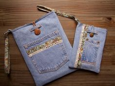 iPad case and Kindle case set made from upcycled jeans