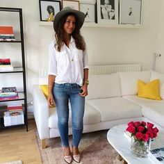Mimi Ikonn | Button down white shirt, skinny jeans, nude heels, hat. Office outfit