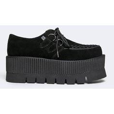 TUK a8831 Creeper ($92) ❤ liked on Polyvore featuring shoes, black, platform lace up shoes, black mid heel shoes, t u k shoes, lace up shoes and stitch shoes