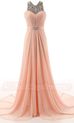Charming Beading Tiered Chiffon Prom Dresses,Backless Long Prom Gowns  http://21weddingdresses.storenvy.com/products/16941972-charming-beading-tiered-chiffon-prom-dresses-backless-long-prom-gowns