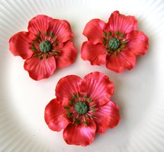 CHRISTMAS RED Gum Paste ANEMONES with Red & Green by lenabender48, $14.95