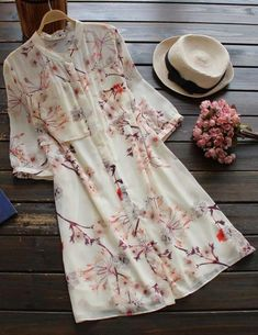 Awesome one to show off this fall! It is a chiffon shirt dress detailed with… Stylish Dresses, Cute Dresses, Trendy Outfits, Beautiful Dresses, Casual Dresses, Summer Dresses, Mode Chic, Mode Style, Kurta Designs
