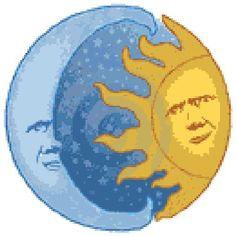 Схема вышивки крестом :: Солнце и луна