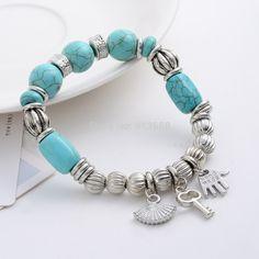 ZOSHI 2017 Blue Natural Stone Bracelet Charms Stone Pulseiras Charm Bracelets & Bangles for Women Tibetant Silver Chain Jewelry