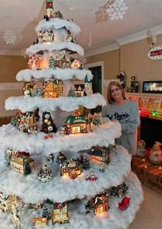 Christmas Village Tree ~ 10 Cool and Unusual Christmas Trees Unusual Christmas Trees, Creative Christmas Trees, Diy Christmas Tree, Xmas Tree, Christmas Projects, Beautiful Christmas, Winter Christmas, Christmas Time, Christmas Ornaments
