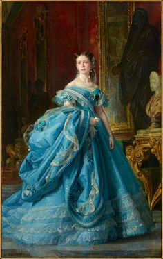 renaissance art Canvas Prints Painting - Isabella Princess Of Asturias Daughter Of Isabella II Of Spain by Vicente Palmaroli Vintage Gowns, Mode Vintage, Vintage Outfits, Victorian Art, Victorian Fashion, Vintage Fashion, Rococo Fashion, Bourbon, Historical Costume