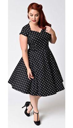 Plus Size 1950s Style Black & White Polka Dot Cap Sleeve Swing Dress
