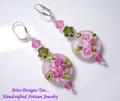 Rambling Rose Lampwork Earrings in Rose and by ariesdesignstoo, $24.00
