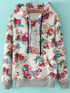 Buy one size up - White Hooded Long Sleeve Floral Drawstring Sweatshirt