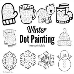 These winter dot painting printables are a great low mess no prep activity for kids this winter. Great boredom buster for kids, toddlers, preschoolers. Do a Dot Markres and bingo daubers work great with these worksheets Winter Crafts For Kids, Art For Kids, Kids Crafts, Snow Theme, Winter Theme, Coloring Pages Winter, Boredom Busters For Kids, Do A Dot, Art Therapy Activities