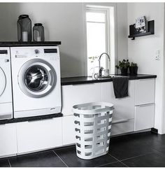 Washer and dryer on a small cabinet for laundry detergent and the like. - Washer and dryer on a small cabinet for laundry detergent and the like. Washing Machine, Laundry Mud Room, Laundry Detergent, Washer And Dryer, Small Cabinet, Small Closet, Laundry, Modern Laundry Rooms, Living Room Designs