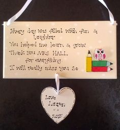 Personalised End of Term School Thankyou Teacher Childminder Leaving Gift Plaque £6.99