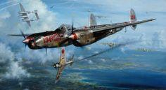 P-38 John Shaw Aviation Art: No Saki Tonight