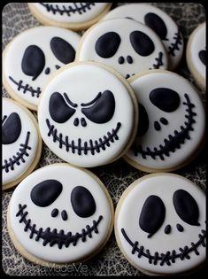 Jack Skellington Sugar Cookies. The classic Nightmare Before Christmas leader makes the perfect, simple Halloween cookie.
