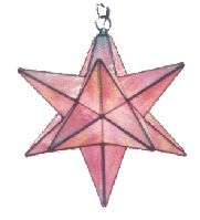 """The Traditional Star stained glass lantern pattern (sometimes called the Moravian star) is a very old design. We have been called upon to restore such lanterns that have been in families for generations. The Traditional Star lantern pack includes a guide for making an angle jig to aid in assembly and instructions for a light baffled hinge on one star point for bulb changing. 15"""" Diameter"""