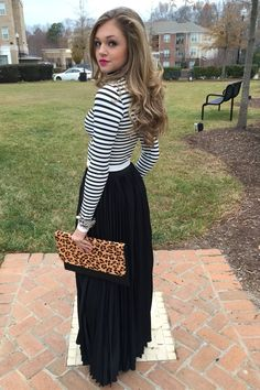 Black pleat maxi skirt #swoonboutique