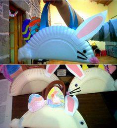 Cestitas de Pascua con platos de papel - Manualidades Infantiles