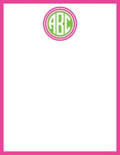 Pink and Green Double Circle Monogram Flat Note Cards