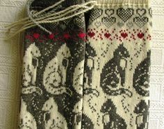 long socks. knit socks. Wool socks with cats Norwegian