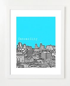 Kansas City Skyline Art Print  8x10 Poster  by BugsyAndSprite, $20.00