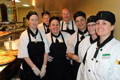 The kitchen crew for Columbus Academy celebrating School Lunch Hero Day! School Lunch, Appreciation, Hero, Celebrities, Coat, Kitchen, Cucina, Cooking, Heroes