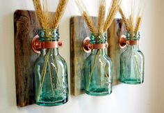 1868 Green Honey Bottles Wall Decor each mounted on wood base for unique rustic living room decor bedroom decor kitchen decor door PineknobsAndCrickets op Etsy https://www.etsy.com/nl/listing/159557341/1868-green-honey-bottles-wall-decor-each