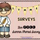 FREE Summer Surveys  Here are 5 free interactive Summer themed surveys.    Students will survey 10 friends, tally their votes on a tally chart and ...