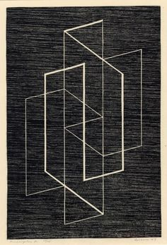 'Multiplex A' (1947) by German-born American artist & Bauhaus master Josef Albers (1888-1976) Woodcut, 16.5 x 12.5 on. via the albers foundation