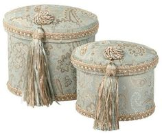 Beautifully embellished with elegant fabric and ribbons or tassels, this line includes hat boxes, st Fabric Covered Boxes, Fabric Boxes, Fabric Basket, Decorative Storage, Decorative Pillows, Hat Storage, Storage Boxes, Storage Ideas, Fabric Storage