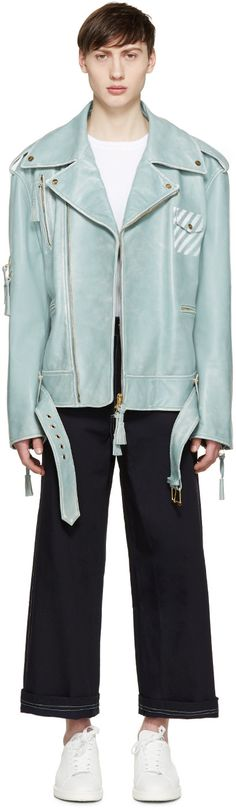 Off-White Blue Oversized Biker Jacket