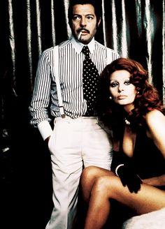 """Marcello Mastroianni and Sophia Loren, in the movie """"La pupa del gangster"""" (1974)"""
