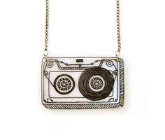 Retro Cassette ruban rétractable en plastique collier (transparence)