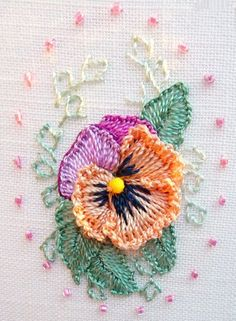 A Pansy in Brazilian Dimensional Embroidery