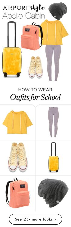 """""""Apollo cabin- airport style"""" by fandomoutfits64 on Polyvore featuring Crash Baggage, Coal, JanSport and Converse"""