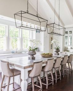 I love the table, the lighting, the windows!  Such an amazing space created by @castlehomes!  What is your favorite feature?  #inspohome #interiordesign #beautiful #kitchen #interior #tableisland #instagood #nashvillesymphonyshowhouse