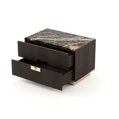 Laskasas | Decorate Life | laskasas.com | Bedroom Decor Ideas and Inspirations |   From the Lady family of products, this is a wooden bedside table with base and metal handles, these knobs are at the base and top of each drawer, creating a safe effect in front of the piece
