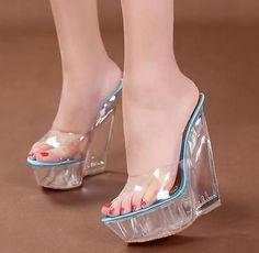 Womens Ladies Peep Toe Mules HOT Wedge Heels Platform Clear Transparent Sandals #blackhighheelssandals #sandalsheelsblack #sandalsheelswedge