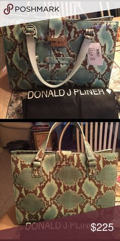 Donald Pliner Satchel Gorgeous turquoise and gray snakeskin pattern. Zipper compartment in center of inside satchel, zipper compartment on one side, three compartments on other side.  Never used Still with tags!! Donald J. Pliner Bags Satchels