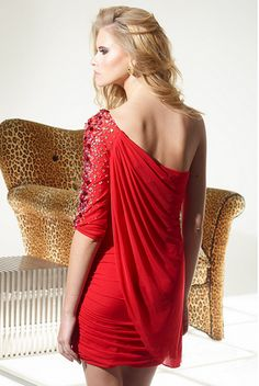 Affordable Red Homecoming Dresses short mini one sleeve